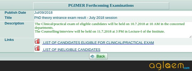 PGIMER 2019 Result   Check Here Result for PGIMER July 2019