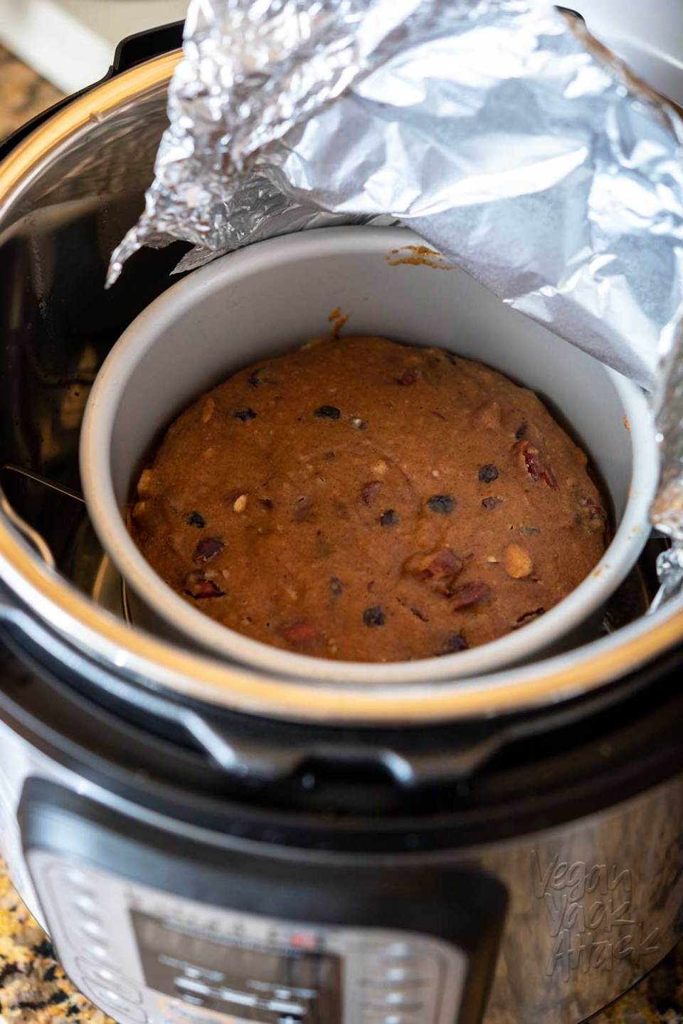 Kathy Hester shows us how with her recipe for Holiday Orange Spice Cake, from The Ultimate Vegan Cookbook for your Instant Pot! #vegan #plantbased #holidays #cookbook #cake