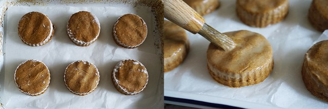 Homemade gluten free pumpkin spice scones: adding an egg wash with a pastry brush