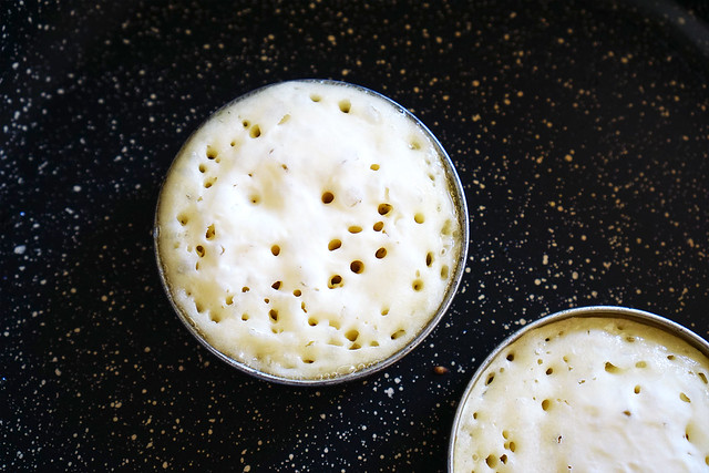 Homemade gluten free crumpets: cooking process / little holes forming