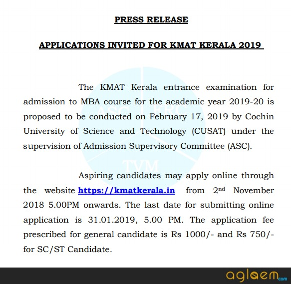 KMAT Kerala 2019 Press Release