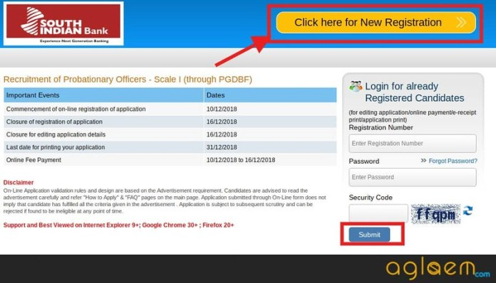 South Indian Bank PO Application Form 2018