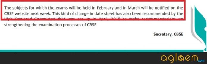 CBSE Date Sheet 2019