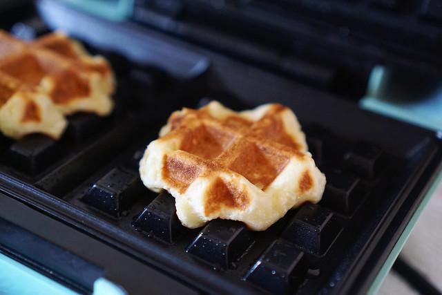 Freshly cooked gluten free waffle churros