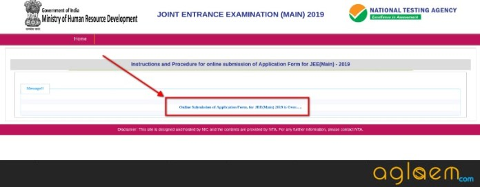 jee main 2019 application form over form correction from october