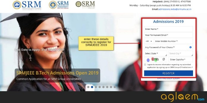 SRMJEEE 2019 Registration