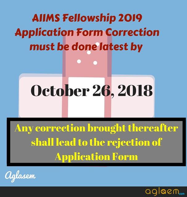 AIIMS Fellowship 2019 Application Form Correction