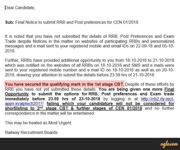 RRB ALP and Technician Result 2018