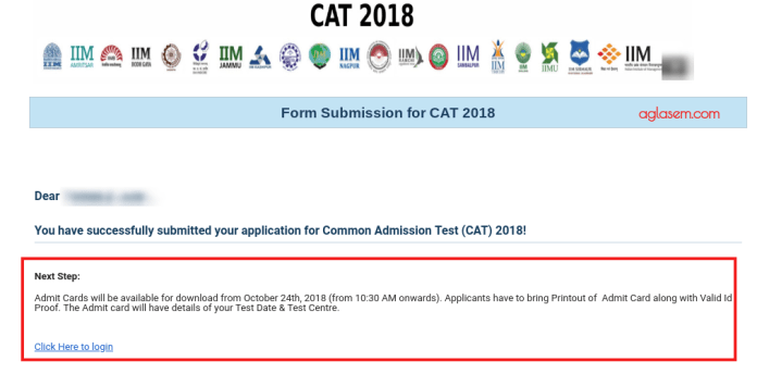 CAT 2018 Admit Card Download