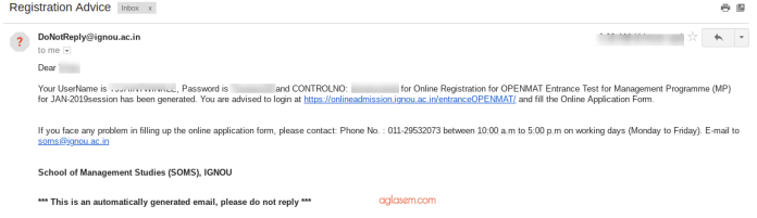 IGNOU OPENMAT 2019 Confirmation Email