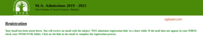 TISSNET 2019 Registration Confirmation Message