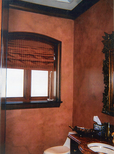 Terra Cotta Faux Finish On Walls This Powder Room Was