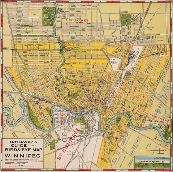 Hathaways Guide and BirdsEye Map of Winnipeg 1911