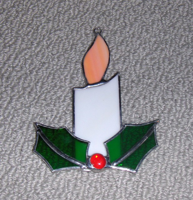 Stained Glass Christmas Candle Holly Is Soldered Over