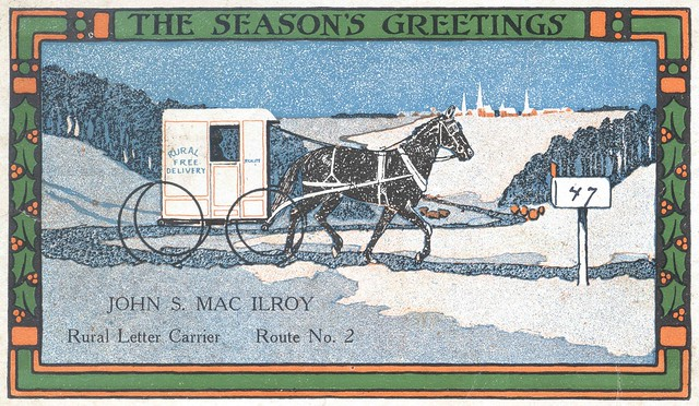 Christmas postcard from Pittstown, New Jersey rural carrier John S. MacIlroy to William Taylor dated December 21, 1915.