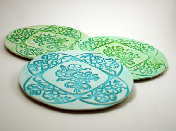Faux Ceramic Coasters   Polymer clay coasters made as ...