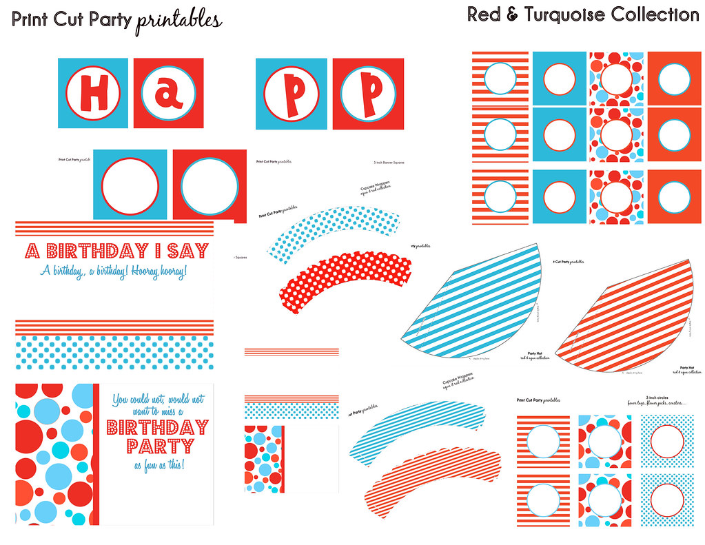 Red Amp Turquoise Printable Party Set Print Cut Party Printa
