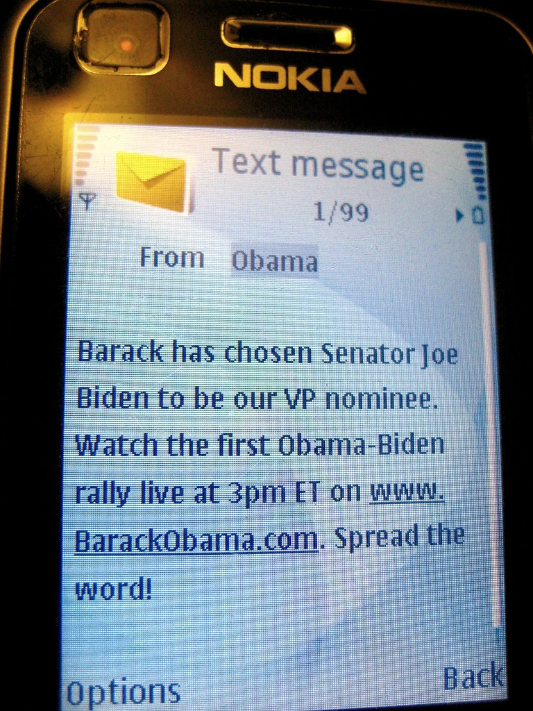 Obama Text Message Announcing Biden As His VP Its 3AM