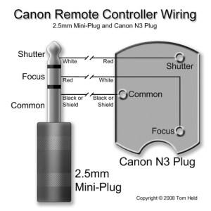 Canon Remote Controller Wiring (25mm miniplug and N3 plu