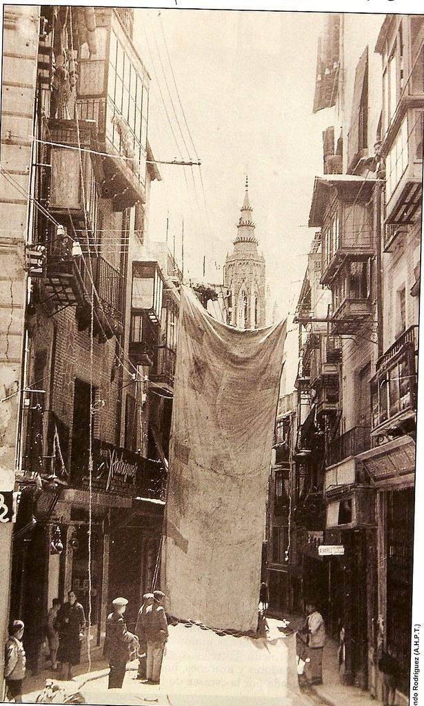 Instalación de los toldos a principios del siglo XX