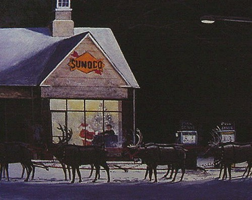 SANTA Stops At A SUNOCO GAS STATION For Directions On Chri