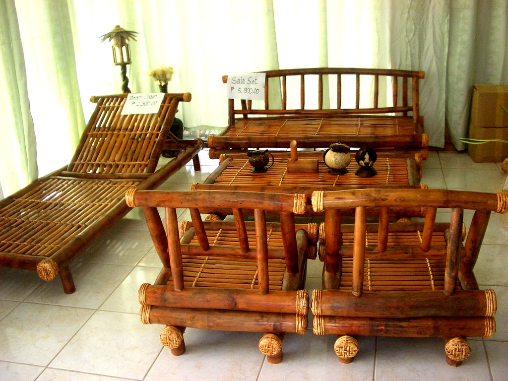 Wood & bamboo furniture, home decors and accessories. This bamboo furniture set was for sale in Gimeras, Philipp ...