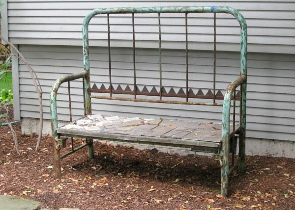 headboard garden bench garden bench headboard and footboard | Bed made into a