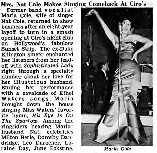 Wife Of Nat King Cole Maria Cole Makes Comeback At Ciro