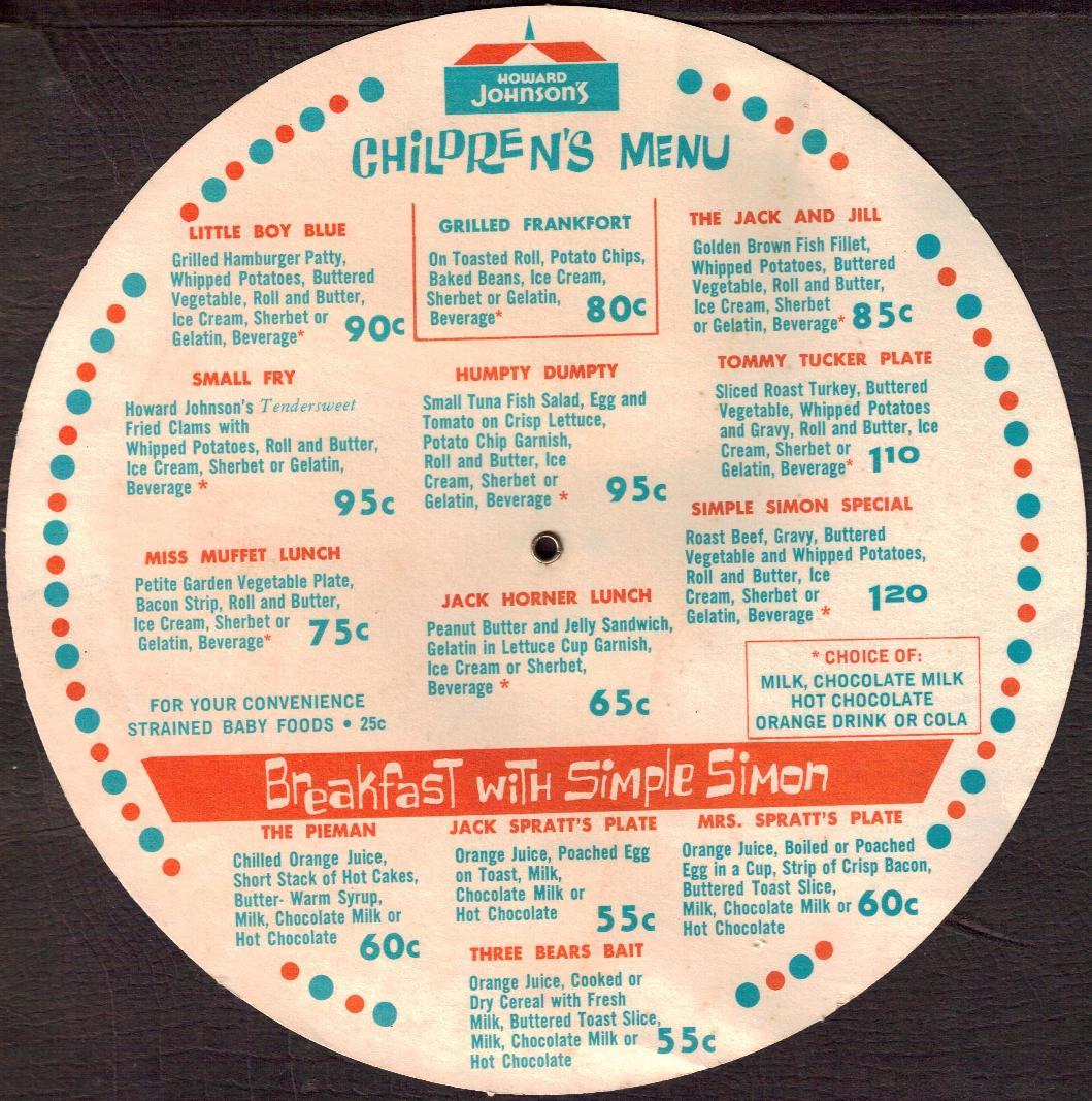 Howard Johnson's Children's Menu back - 1966
