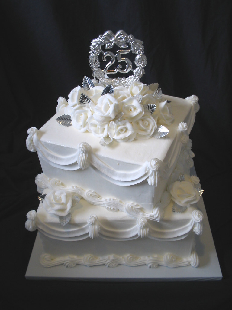 25th Wedding Anniversary Square 2 Tier Giggys Cakes And