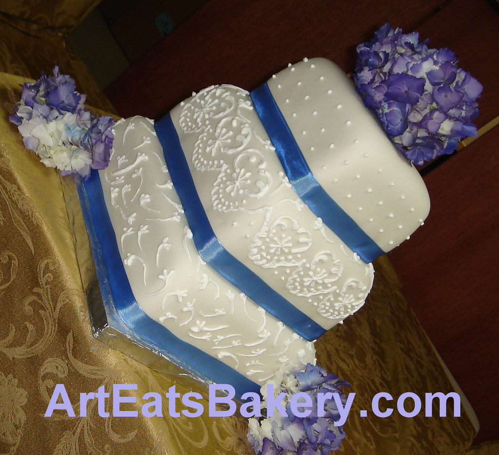 Square Fondant Wedding Cake With Blue Ribbons Purple Flow