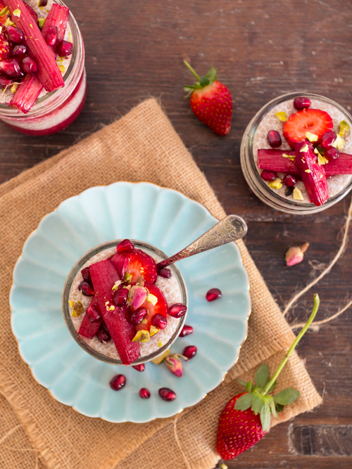 Chia Pudding with Honey Stewed Rhubarb | spicyicecream