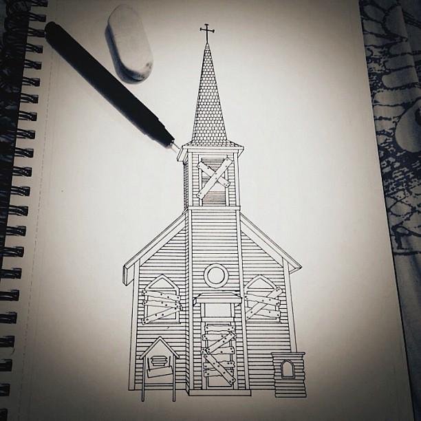 Creepy Church Outline Done Illustration Illustrator Sk