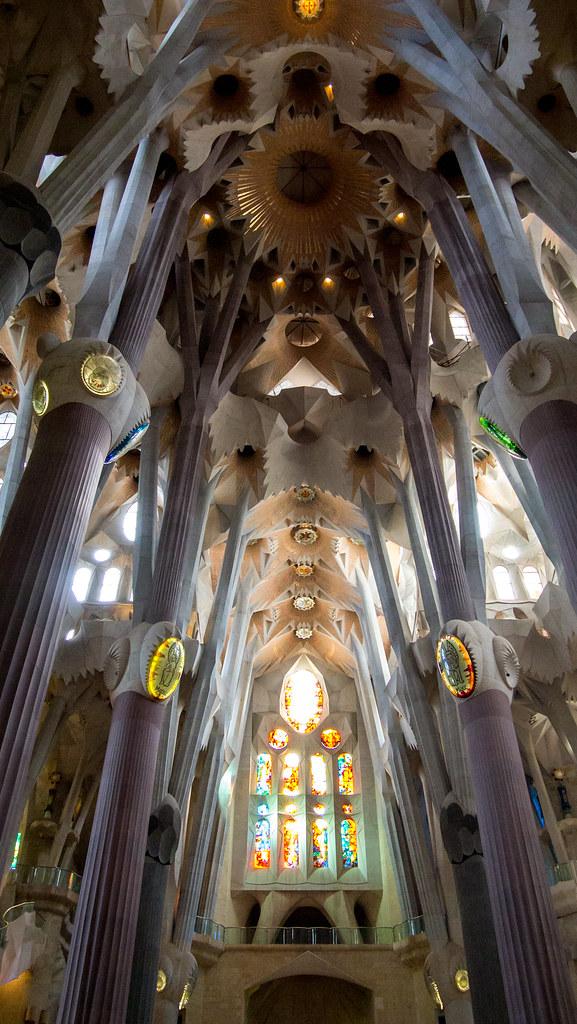 La Sagrada Familia Internal View The Antoni Gaudi