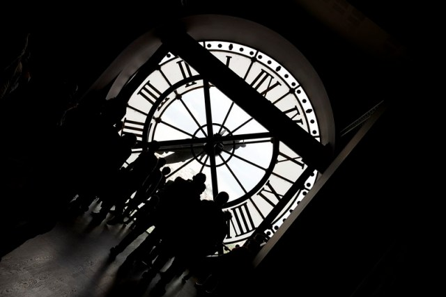 Shadows inside a clock tower