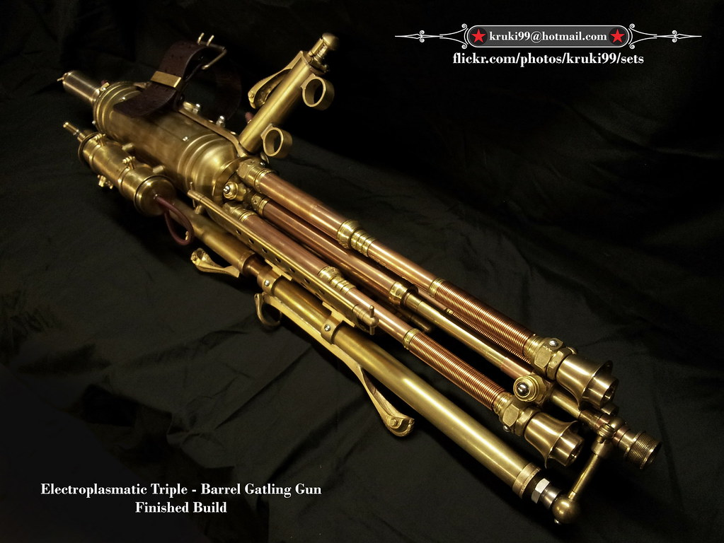 Steampunk Gatling Gun Electroplasmatic Rotary Cannon 001