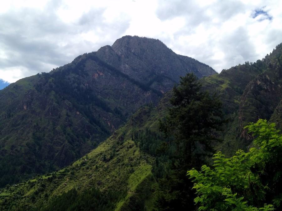 view of lush himalayan peaks in himachal pradesh