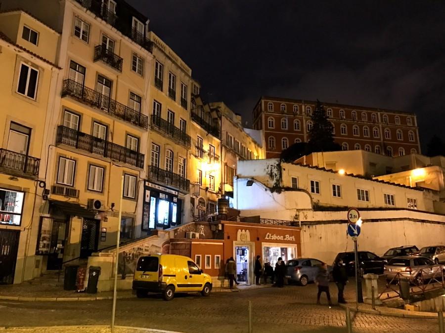 walking around lisbon at night