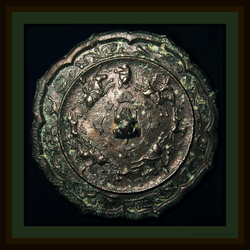 唐 八菱 狩獵紋 銀殼鎏金銅鏡 | OLYMPUS DIGITAL CAMERA貼金貼銀鍍金鏡 唐代名鏡。系指鏡背貼以銀… | Flickr
