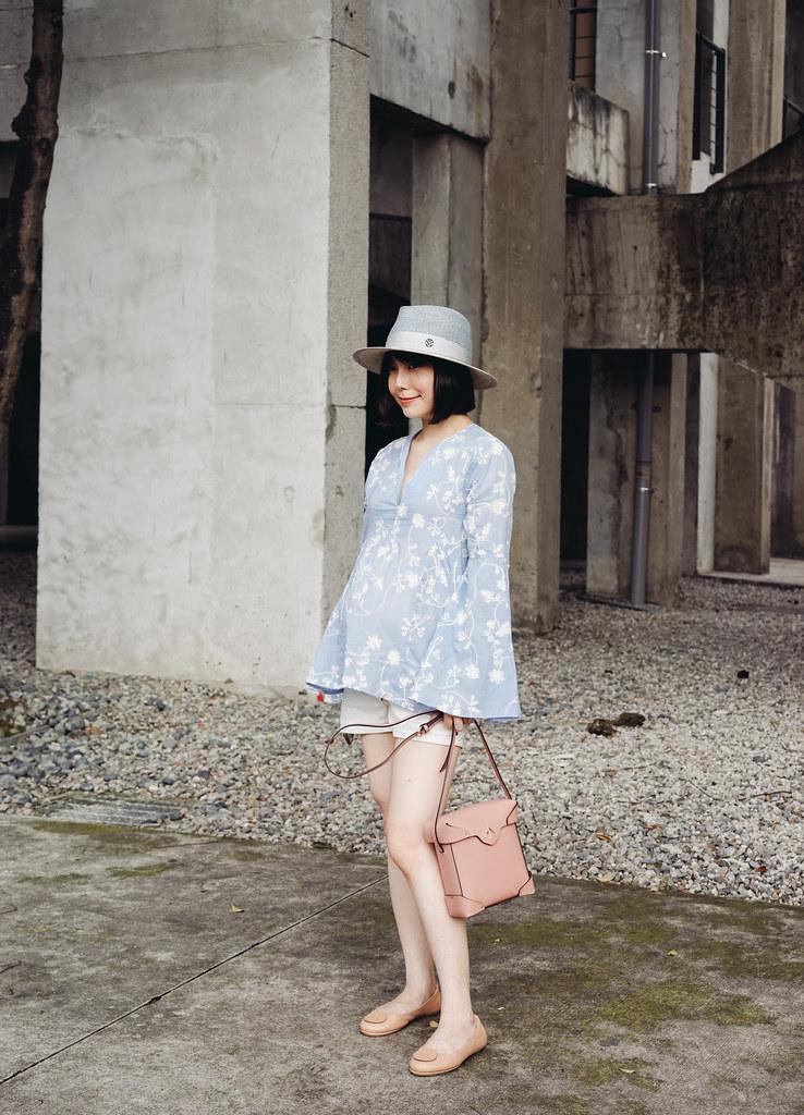 ▌Dressing the Bump ▌ 粉紅與藍色的春天:MANU atelier mini Pristine Box Bag + Tory Burch Minnie Travel ballet flats摺疊鞋