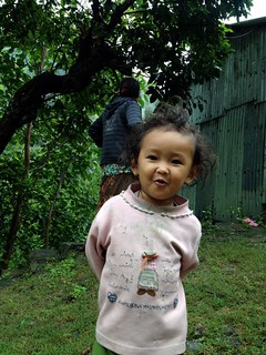 little girl in a village near annapurna
