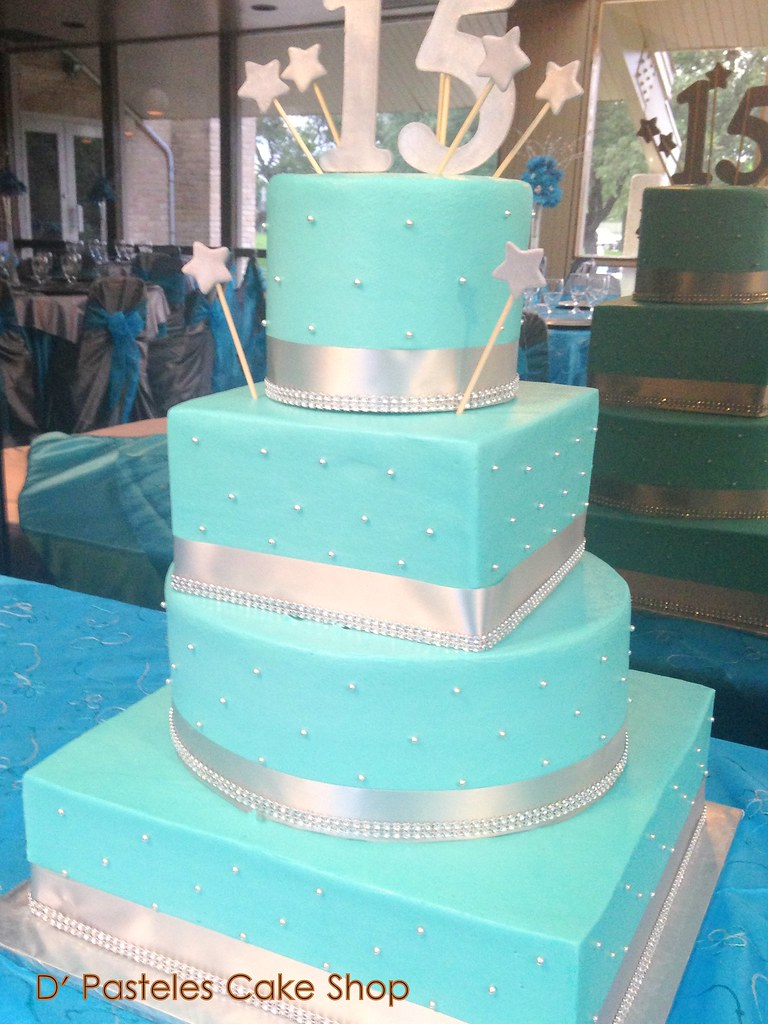 Turquoise Silver Cake 200 DPasteles Cake Shop Flickr