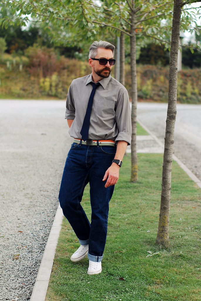 Over 40 Menswear Casual Shirt And Tie With Jeans And Conv