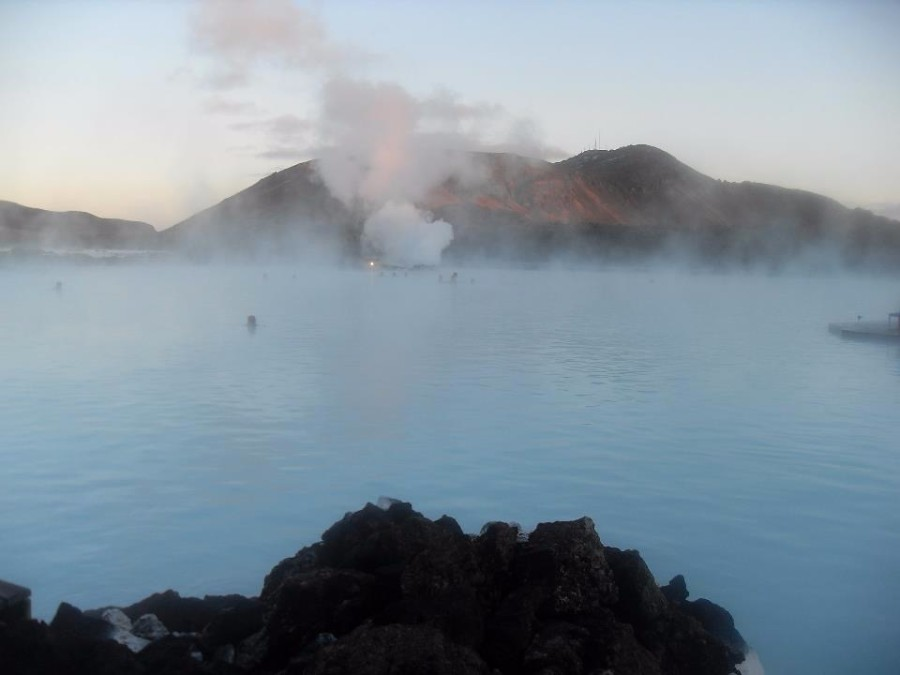 steam jets from white hot lake in blue lagoon iceland