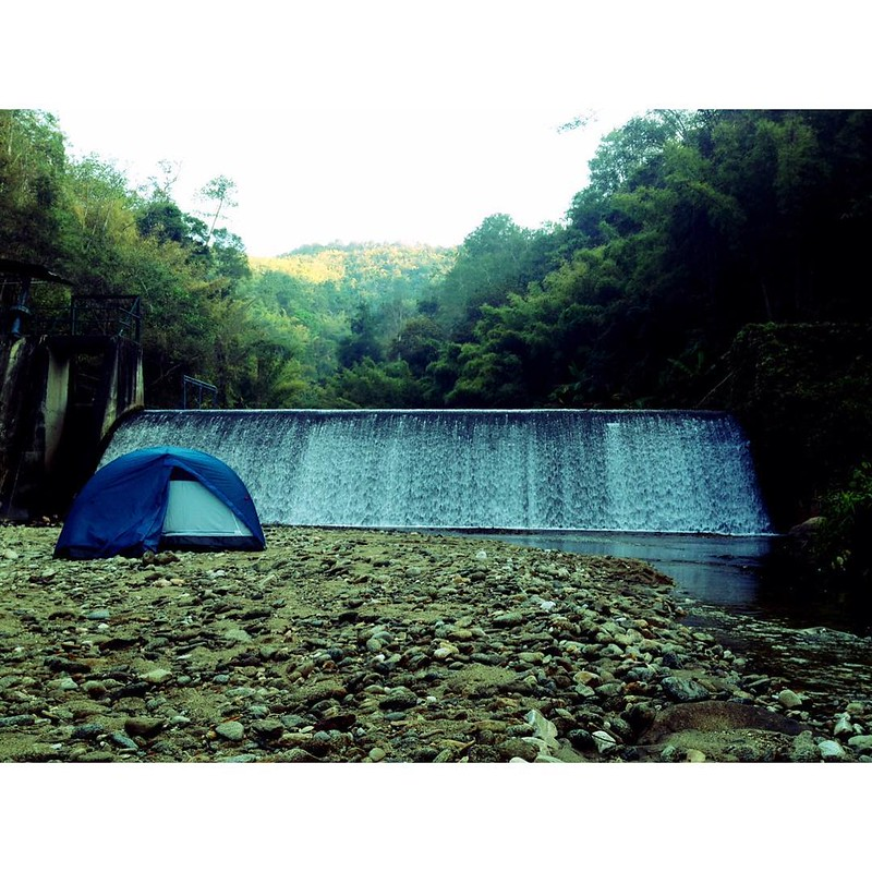 camping in front of a dam in doi pha hom pok national park in thailand