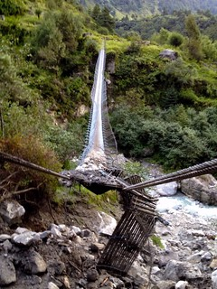 broken hanging bridge in annapurna