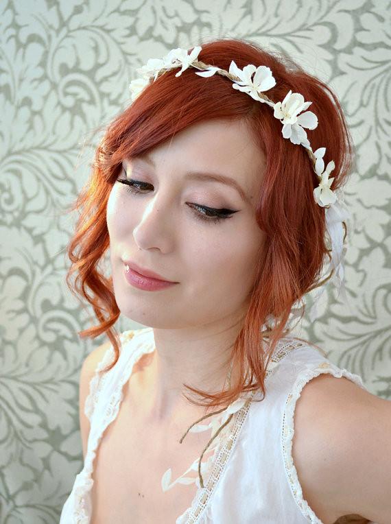 Boho Floral Headpiece White Flower Crown Wedding Headban