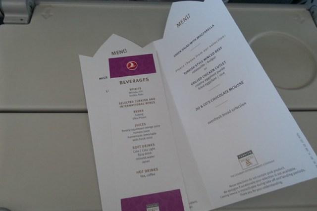 2. menu op het vliegtuig
