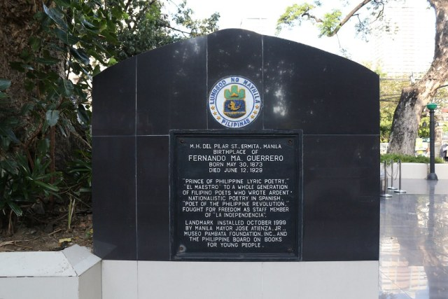 A historical marker in the plaza dedicated to one of the Guerreros, the writer Fernando Ma. Guerrero