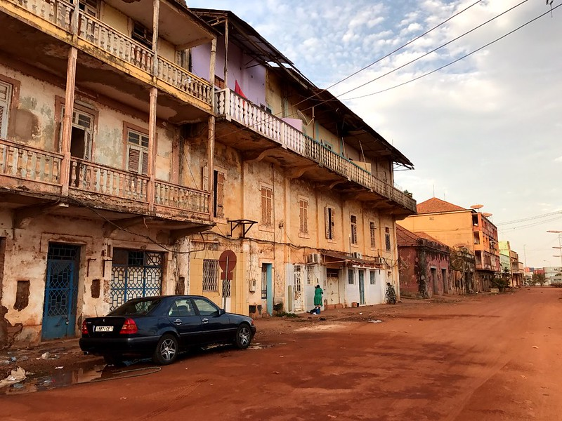 new car in a dusty street in bissau